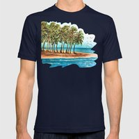 Private Island Painting Mens Fitted Tee Navy SMALL