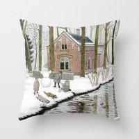 Children Building A Snow… Throw Pillow