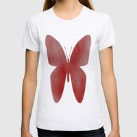 Red Butterfly Womens Fitted Tee Ash Grey SMALL