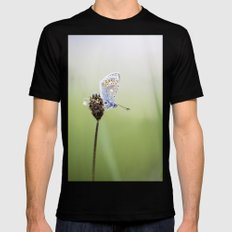 Common Blue Butterfly Mens Fitted Tee Black SMALL