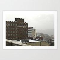 Snowy Cityscape Art Print
