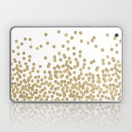 Laptop & iPad Skin featuring Gold Glitter Dots In Sca… by CharlotteWinter