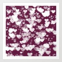 Pink and White Girly Hearts Bokeh Art Print