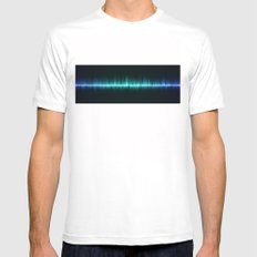 blue color sound waves beat music volume Mens Fitted Tee White SMALL