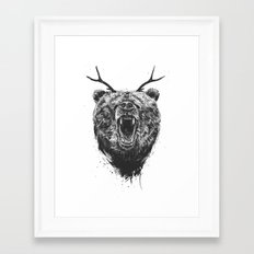 Angry bear with antlers Framed Art Print