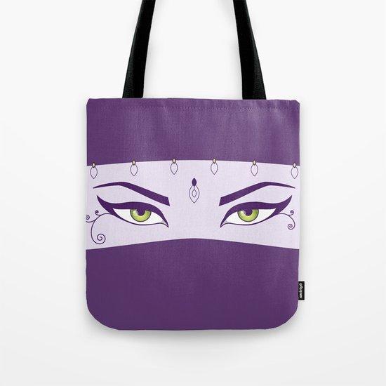 Oriental Dancer In Purple With Green Eyes Tote Bag