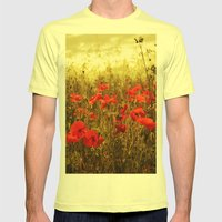 Poppy Glow Mens Fitted Tee Lemon SMALL