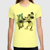 Mickey Mouse As Steamboa… Womens Fitted Tee Lemon X-LARGE