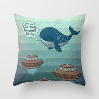 wise whale says Throw Pillow