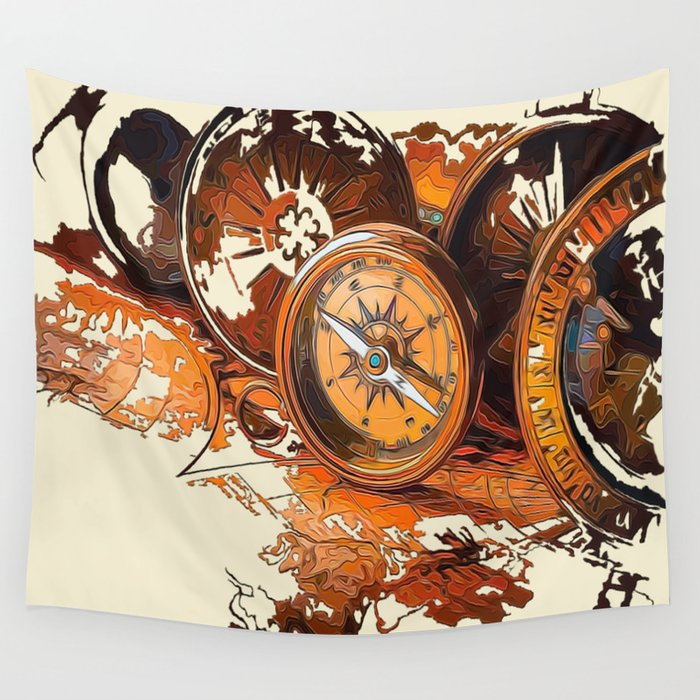 Vintage Compass Wall Tapestry By Robin Curtiss