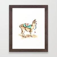 Watercolor Llama Framed Art Print