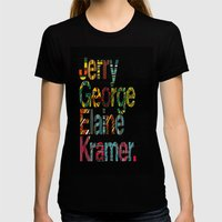 Jerry, George, Elaine & Kramer Womens Fitted Tee Black SMALL