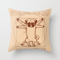 Vitruvian Pug Throw Pillow