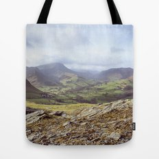 View of mountains on a sunny day. Cumbria, UK. (Shot on film). Tote Bag