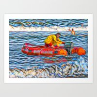 Abstract Surf rescue boat in action Art Print