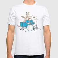 Cat Playing Drums - Blue Mens Fitted Tee Ash Grey SMALL