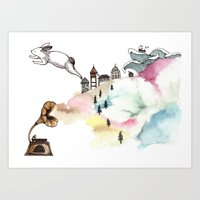 Rabbit Cloud Art Print