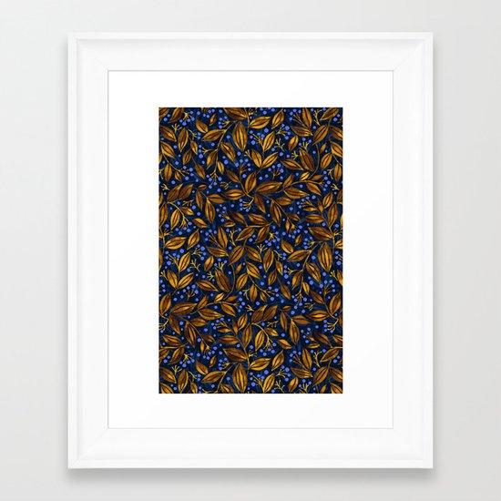 BLUE BERRIES GOLDEN LEAVES Framed Art Print
