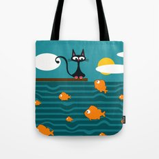 fishes and cat Tote Bag