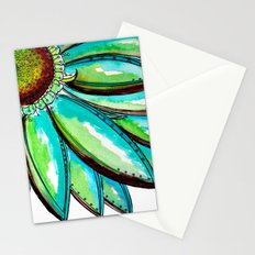 Gerber Daisy Watercolor in Aqua and Green Stationery Cards