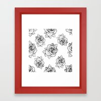 Rose Line Pattern Framed Art Print