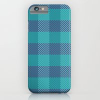 iPhone & iPod Case featuring Pixel Plaid - Ice Sheet by Frostbeard Studio
