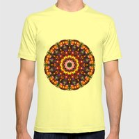 Pansy Kaleidoscope Mens Fitted Tee Lemon SMALL
