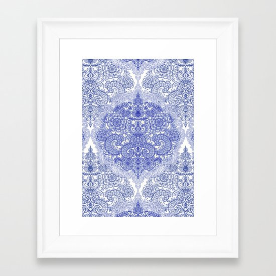 Happy Place Doodle in Cornflower Blue, White & Grey Framed Art Print