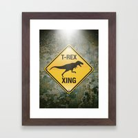 T-Rex Crossing Framed Art Print