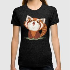 Red panda Womens Fitted Tee Tri-Black SMALL