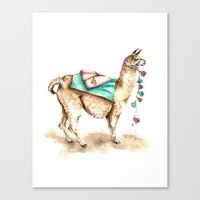 Watercolor Llama Canvas Print