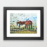Abstract Horses In Paddo… Framed Art Print