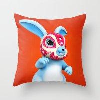 Lucha Rabbit-Blue Brother Throw Pillow