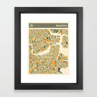BOSTON MAP Framed Art Print