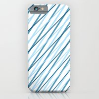 iPhone Cases featuring Diagonal Blue Lines by Janice Austin Designs
