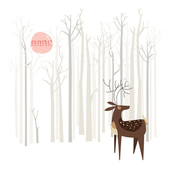 Reindeer of the Silver Wood Art Print