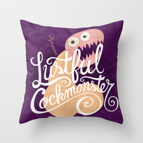 Lustful Cockmonster Throw Pillow