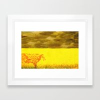 Cow In Yellow Field Framed Art Print
