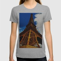 Eiffel Tower Womens Fitted Tee Athletic Grey SMALL