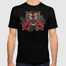 Old School Tiger and roses - tattoo Black SMALL Mens Fitted Tee