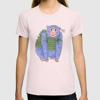 Peachtree The Chimp in Blue Womens Fitted Tee Light Pink SMALL