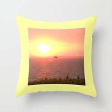 Hawk Hunts at Sunset over the Beach Throw Pillow