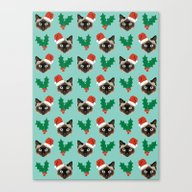 Siamese Cat Cute Christm… Canvas Print