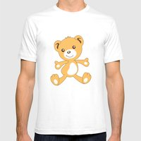 Parachuting Bear 2 Mens Fitted Tee White SMALL