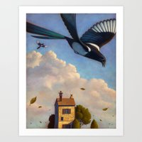 Watching Magpies Art Print