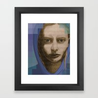 Real Girl, Digital World Framed Art Print