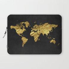Black Gold Decor, Gold World Map, Office Decor, Bathroom, Glam, Black Wall Art Laptop Sleeve