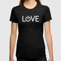 Love is Power Womens Fitted Tee Tri-Black SMALL
