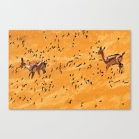Deers in a yellow field Canvas Print