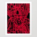 INK#6 Red Mask Art Print
